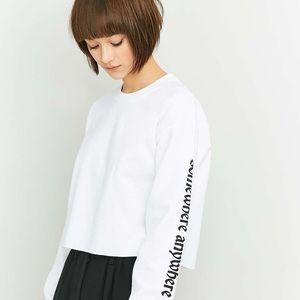 BDG White Cropped Sweatshirt